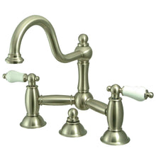 Load image into Gallery viewer, Kingston Brass Restoration Bathroom Bridge Faucet with Porcelain Lever Handles
