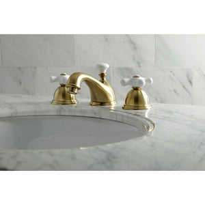 Kingston Brass Restoration 8 in. Widespread Bathroom Faucet with Porcelain Cross Handles