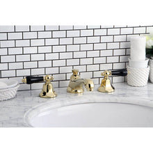 Load image into Gallery viewer, Kingston Brass Duchess Widespread Bathroom Faucet with Porcelain Lever Handles and  Brass Pop-Up