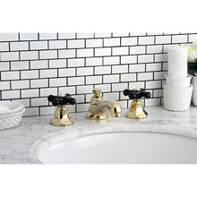 Load image into Gallery viewer, Kingston Brass Duchess Widespread Bathroom Faucet with Porcelain Cross Handles and  Brass Pop-Up
