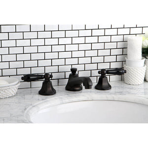 Kingston Brass Duchess Widespread Bathroom Faucet with Porcelain Lever Handles and  Brass Pop-Up