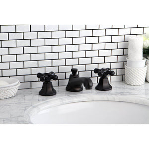 Kingston Brass Duchess Widespread Bathroom Faucet with Porcelain Cross Handles and  Brass Pop-Up