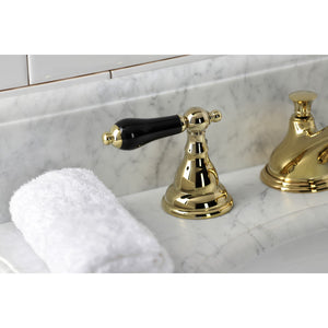 Kingston Brass Duchess Black Porcelain Lever Handle Widespread Bathroom Faucet and Brass Pop-Up