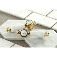 "Load image into Gallery viewer, Kingston Brass Bel-Air 8"" Center Wall Mount Porcelain Lever Handle Bathroom Faucet"