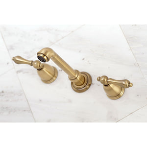 Kingston Brass English Country Two-Handle Wall Mount Bathroom Faucet with Pop-Up Drain