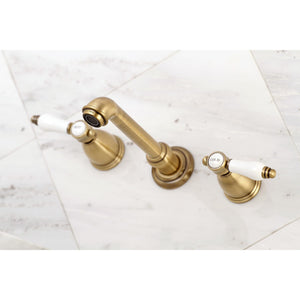 "Kingston Brass Bel-Air 8"" Center Wall Mount Porcelain Lever Handle Bathroom Faucet"