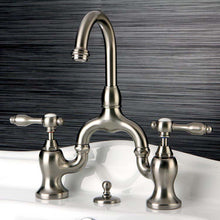 Load image into Gallery viewer, Kingston Brass Tudor Lever Handle Bridge Bathroom Faucet