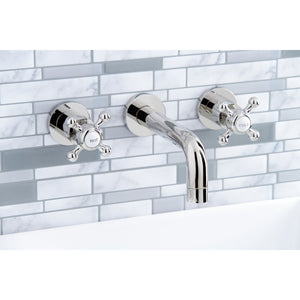 Kingston Brass Metropolitan 2-Handle 8 in. Wall Mount Bathroom Faucet with Cross Handles
