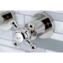 Load image into Gallery viewer, Kingston Brass Metropolitan 2-Handle 8 in. Wall Mount Bathroom Faucet with Cross Handles
