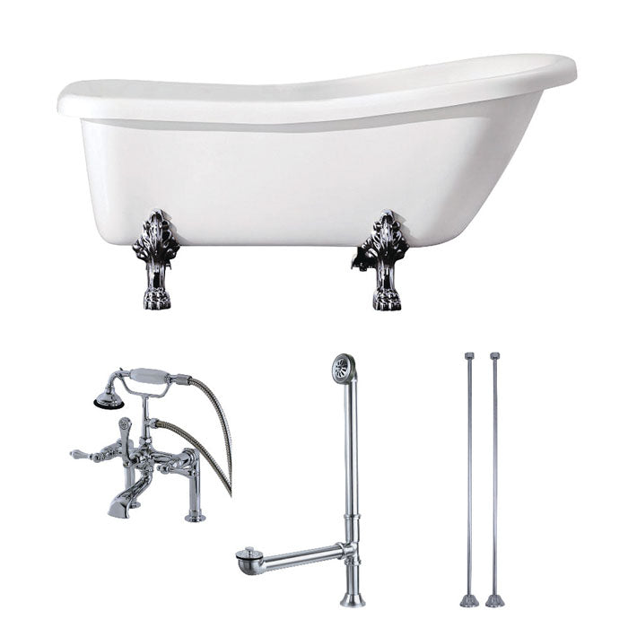 Kingston Brass Aqua Eden 67-Inch Acrylic Single Slipper Clawfoot Tub Combo with Faucet and Supply Lines