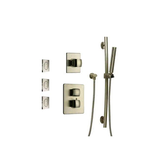 "LaToscana Lady Thermostatic Shower with 3/4"" Ceramic Disc Volume Control, 3-Way Diverter, Slide Bar and 3 Square Concealed Body Jets"