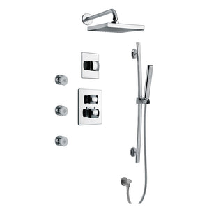 "LaToscana Lady Thermostatic Shower with 3/4"" Ceramic Disc Volume Control, 3-Way Diverter, Slide Bar and 3 Body Jets"