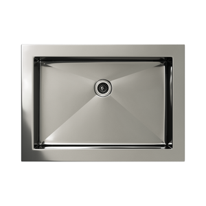 Cantrio Koncepts Rectangular Stainless Steel Drop in Bathroom Sink - Polished Chrome Finish