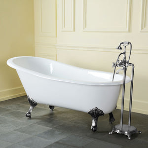 Kingston Brass Aqua Eden 61-Inch Cast Iron Single Slipper Clawfoot Tub (No Faucet Drillings)