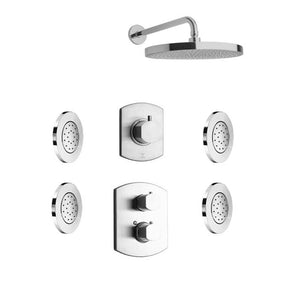 "LaToscana Novello Thermostatic Shower with 3/4"" Ceramic Disc Volume Control, 3-Way Diverter and 4 Concealed Body Jets"