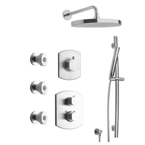 "LaToscana Novello Thermostatic Shower with 3/4"" Ceramic Disc Volume Control, 3-Way Diverter, Slide Bar and 3 Body Jets"