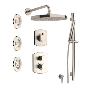 "LaToscana Novello Thermostatic Shower with 3/4"" Ceramic Disc Volume Control, 3-Way Diverter, Slide Bar with 3 Concealed Body Jets"