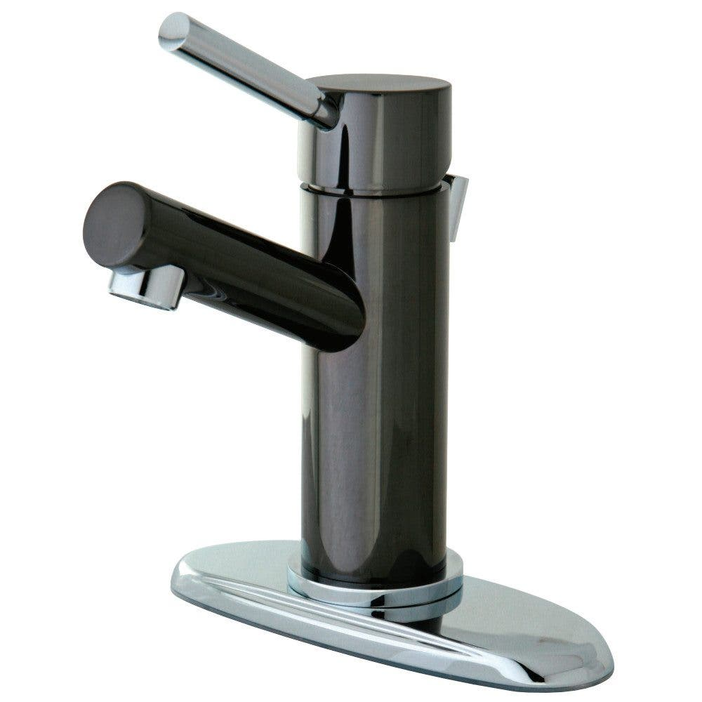 Kingston Brass Water Onyx Single-Handle Bathroom Faucet with Brass Pop-Up and Cover Plate/Black Stainless Steel