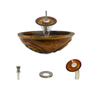 Polaris P016 Orange/Gold Round Vessel Sink and Waterfall Faucet Ensemble