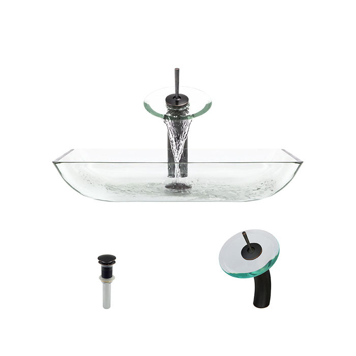 Polaris P046 Crystal Glass Vessel Sink and Waterfall Faucet Ensemble