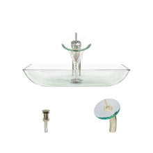 Load image into Gallery viewer, Polaris P046 Crystal Glass Vessel Sink and Waterfall Faucet Ensemble
