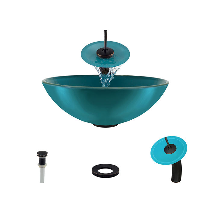 Polaris P106 Turquoise Bathroom Vessel Sink and Waterfall Faucet Ensemble