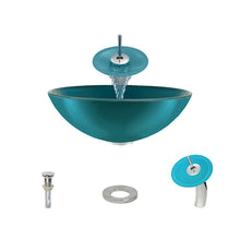 Load image into Gallery viewer, Polaris P106 Turquoise Bathroom Vessel Sink and Waterfall Faucet Ensemble
