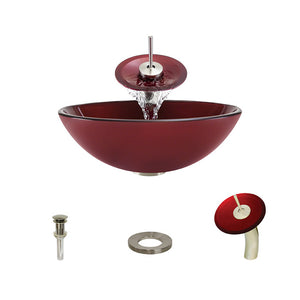 Polaris P146 Red Hand Painted Bathroom Vessel Sink and Waterfall Faucet Ensemble
