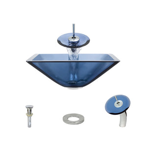 Polaris P306 Aqua Painted Glass Bathroom Vessel Sink and Waterfall Faucet Ensemble