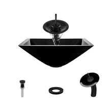 Load image into Gallery viewer, Polaris P306 Black Painted Glass Bathroom Vessel Sink and Waterfall Faucet Ensemble