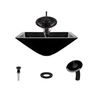 Polaris P306 Black Painted Glass Bathroom Vessel Sink and Waterfall Faucet Ensemble
