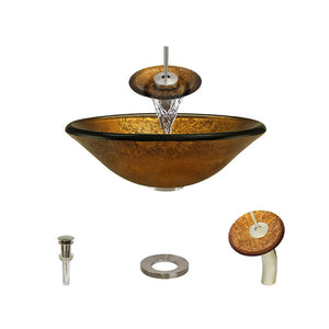 Polaris P316 Round Gold Foil Bathroom Vessel Sink and Waterfall Faucet Ensemble