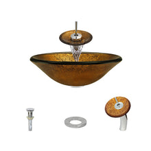 Load image into Gallery viewer, Polaris P316 Round Gold Foil Bathroom Vessel Sink and Waterfall Faucet Ensemble