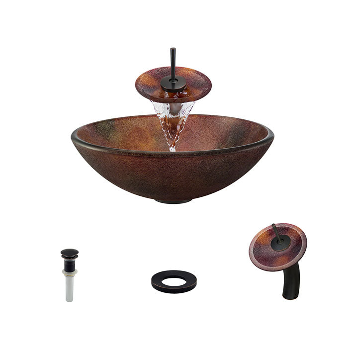 Polaris P416 Round Acid Etched Bathroom Vessel Sink and Waterfall Faucet Ensemble