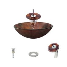 Load image into Gallery viewer, Polaris P416 Round Acid Etched Bathroom Vessel Sink and Waterfall Faucet Ensemble