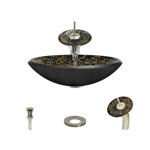 Polaris P436 Foil Undertone Bathroom Vessel Sink and Waterfall Faucet Ensemble