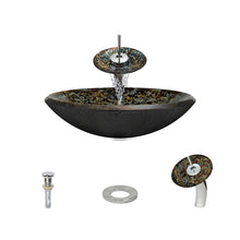 Load image into Gallery viewer, Polaris P436 Foil Undertone Bathroom Vessel Sink and Waterfall Faucet Ensemble