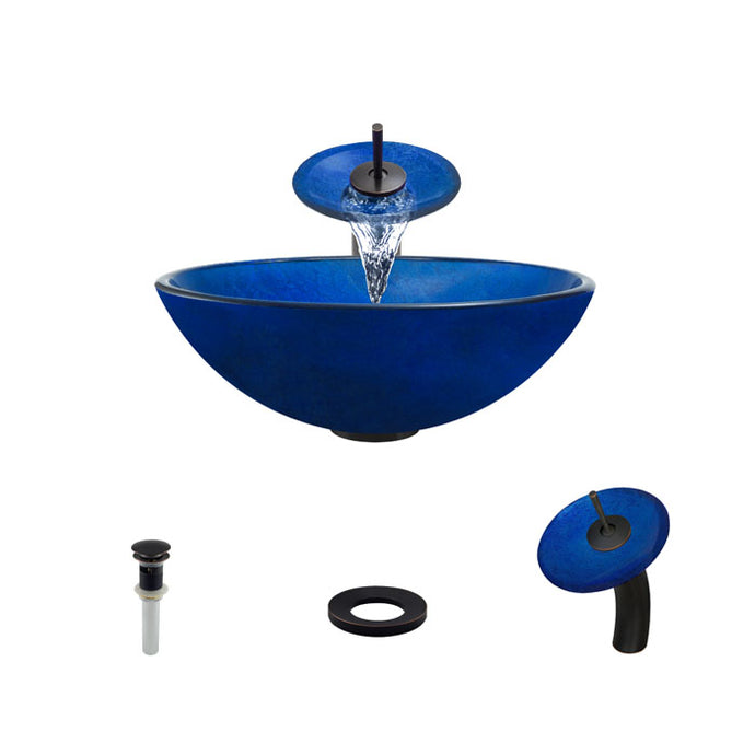 Polaris P446 Round Royal Blue Bathroom Vessel Sink and Waterfall Faucet Ensemble