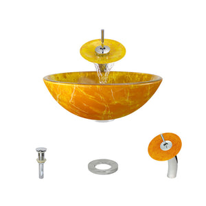 Polaris P506 Round Orange/Gold Hand Painted Bathroom Vessel Sink and Waterfall Faucet Ensemble