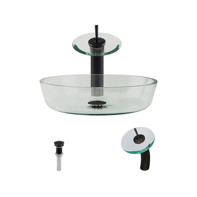 Polaris P526 Round Clear Glass Bathroom Vessel Sink and Waterfall Faucet Ensemble