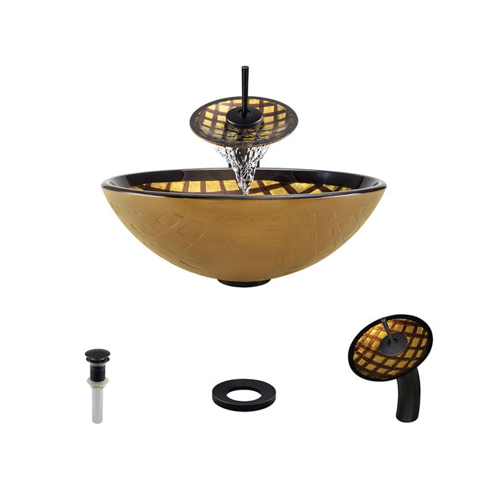 Polaris P536 Round Gold Foil Undertone Bathroom Vessel Sink and Waterfall Faucet Ensemble