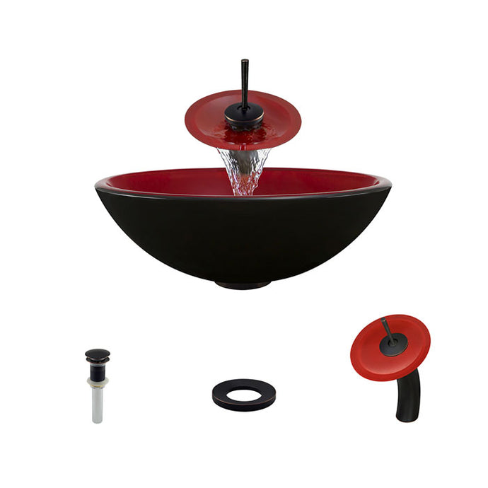 Polaris P606 Round Red/Black Double Layer Bathroom Vessel Sink and Waterfall Faucet Ensemble