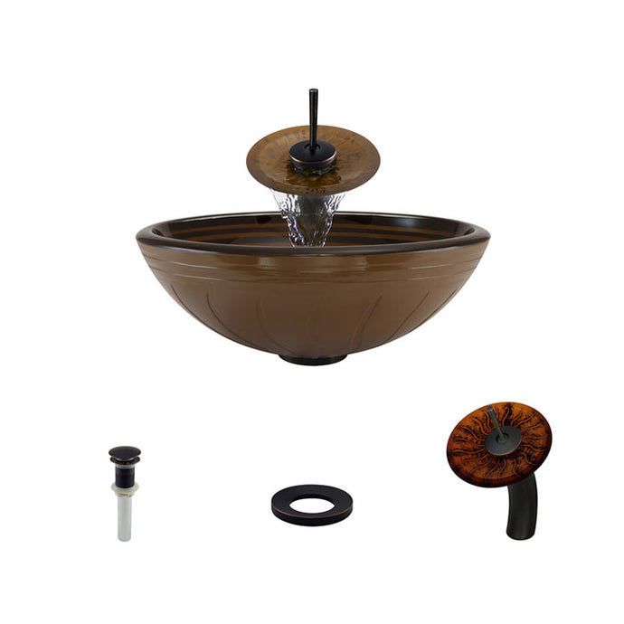 Polaris P616 Round Hand Painted Bathroom Vessel Sink and Waterfall Faucet Ensemble
