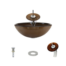 Load image into Gallery viewer, Polaris P616 Round Hand Painted Bathroom Vessel Sink and Waterfall Faucet Ensemble