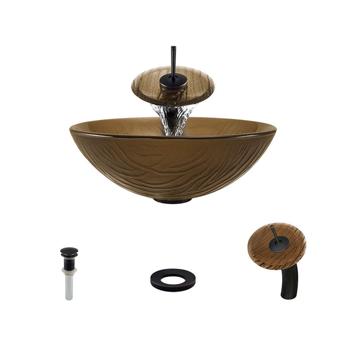 Polaris P626 Round Colored Glass Bathroom Vessel Sink and Waterfall Faucet Ensemble