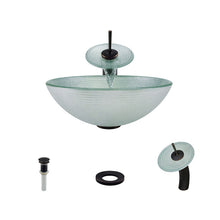 Load image into Gallery viewer, Polaris P636 Round Foil Undertone Bathroom Vessel Sink and Waterfall Faucet Ensemble