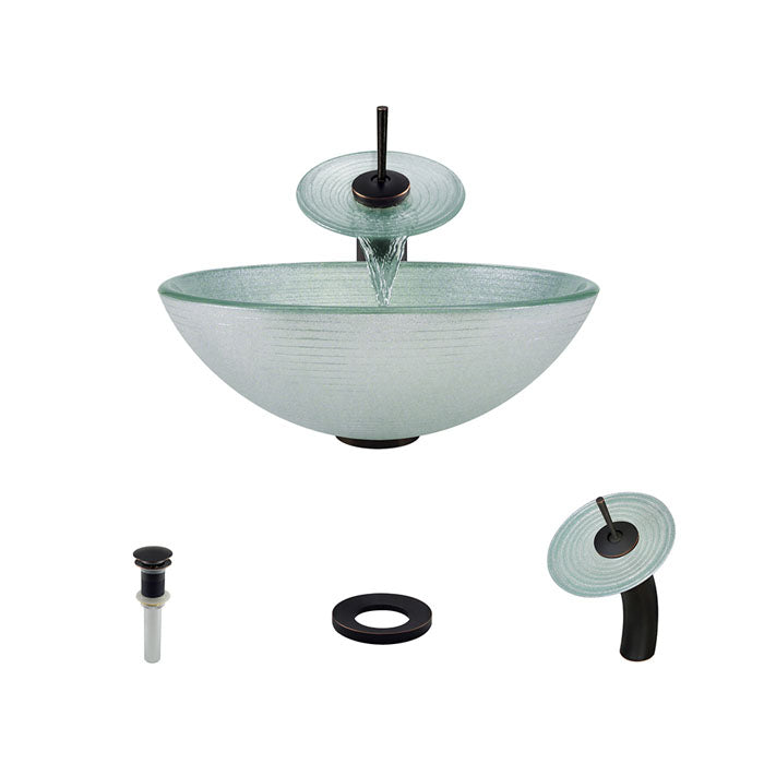 Polaris P636 Round Foil Undertone Bathroom Vessel Sink and Waterfall Faucet Ensemble