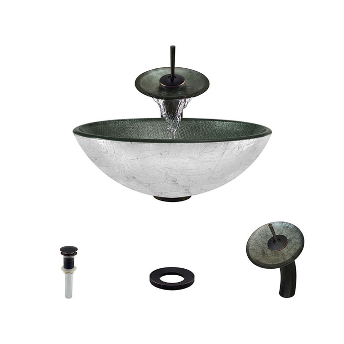 Polaris P716 Round Silver Print Bathroom Vessel Sink and Waterfall Faucet Ensemble