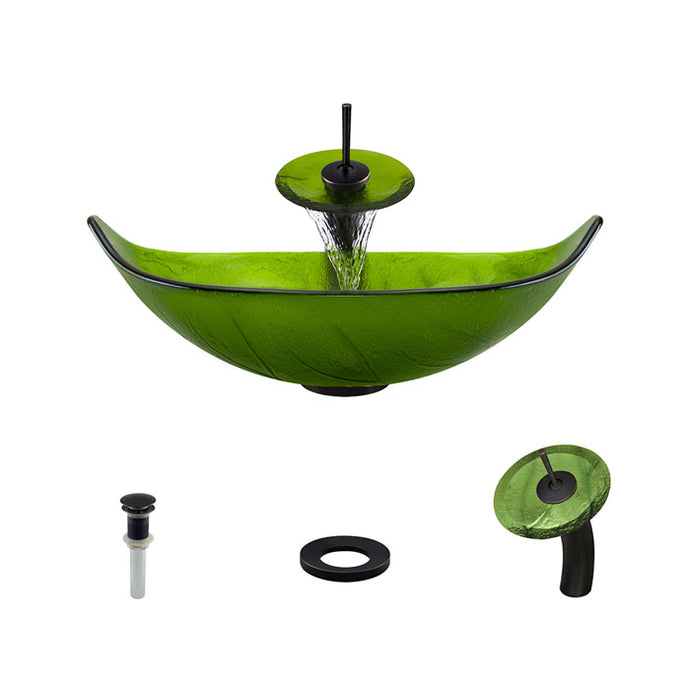 Polaris P906 Green Foil Undertone Bathroom Vessel Sink and Waterfall Faucet Ensemble
