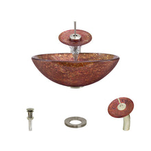 Load image into Gallery viewer, Polaris P936 Round Colored Glass Bathroom Vessel Sink and Waterfall Faucet Ensemble